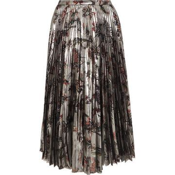 Markus Lupfer - Hailey Pleated Printed Silk-blend Lame Midi Skirt - Silver