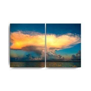 "Ready2HangArt Golden Cloud 2 Piece Wrapped Canvas Coastal Wall Art Set, 20"" x 32"""