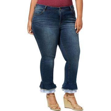 William Rast Womens Plus Denim Ruffled Ankle Jeans