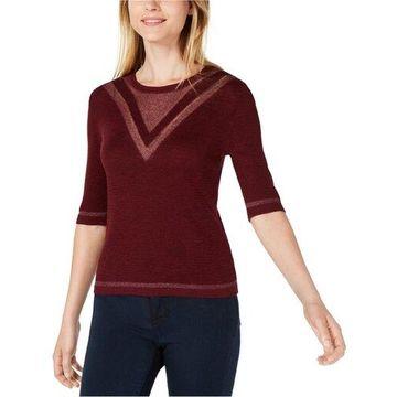 maison Jules Womens Intarsia Pullover Sweater