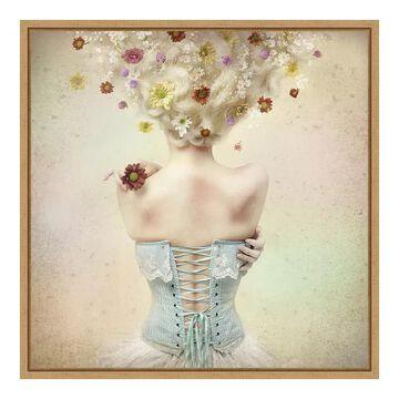 Amanti Art Framed 'Girl of the Flower Garden' by Kiyo Murakami, Brown, 16X16