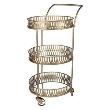 Urban Vogue Round Bar Cart, Gold, 25x18x37.5