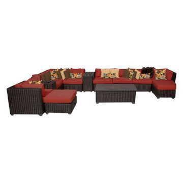 TK Classics Venice 13-Piece Outdoor Wicker Sofa Set, Terracotta