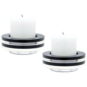 Lazy Susan Round Tuxedo Crystal Candleholders, Set Of 2