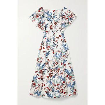 Erdem - Maudie Belted Printed Cotton-poplin Midi Dress - White