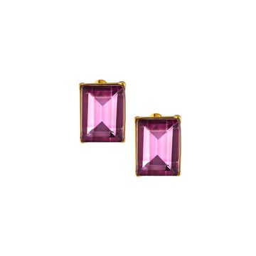 Rectangular Stone Stud Earrings, Pink