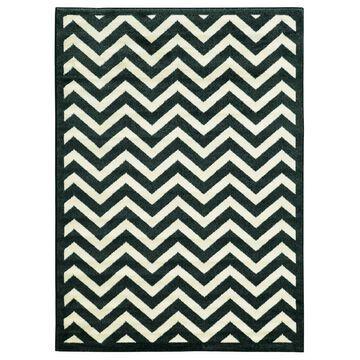 Linon Elegance Marble/ Black Area Rug (5' x 7'3) - 5' x 7'3