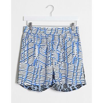 Noisy May two-piece shorts in blue spliced print-White