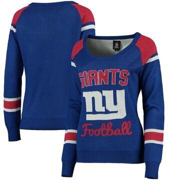 New York Giants Klew Women's Glitter Scoop Neck Sweater - Royal