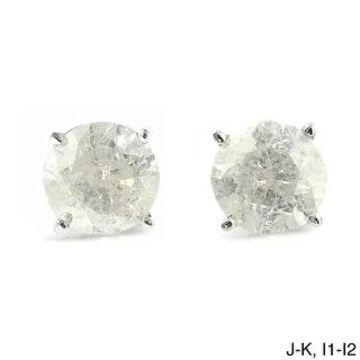 Auriya Platinum 1 1/4ctw Round Diamond Stud Earrings Clarity-enhanced
