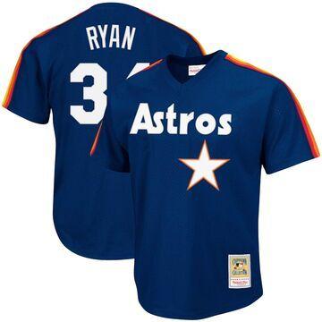 Mitchell & Ness Nolan Ryan Houston Astros Navy Cooperstown Collection Big & Tall Mesh Batting Practice Jersey