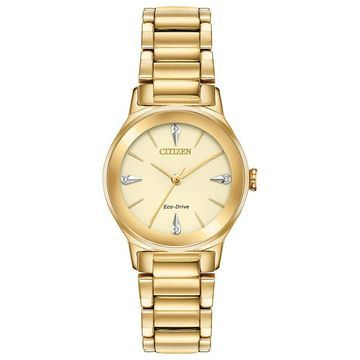 Ladies' Citizen Eco-Drive Axiom Diamond Accent Gold-Tone Watch with Champagne Dial (Model: EM0732-51P)