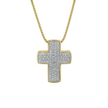 14k Yellow Gold 1ct. TDW Cross Necklace by Beverly Hills Charm