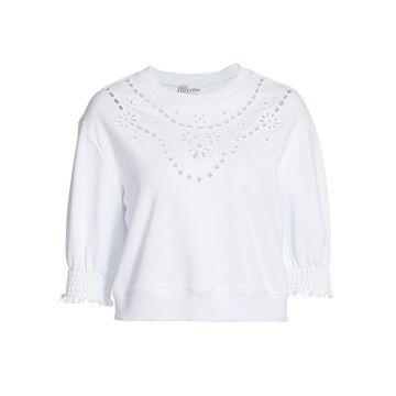 REDValentino Eyelet Jersey Knit Cropped Top
