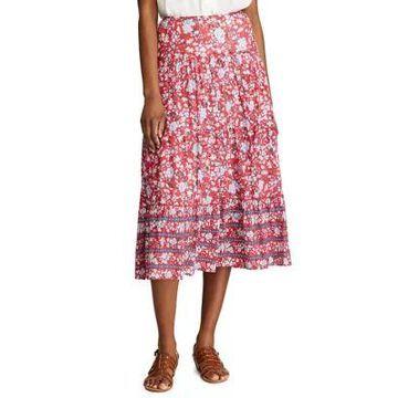 Chaps Women's Petite Tiered Maxi Skirt - -