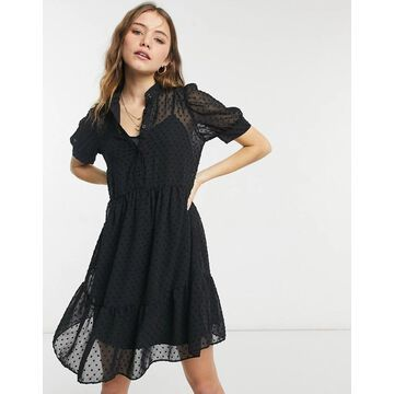 New Look tiered smock dress in black texture mesh