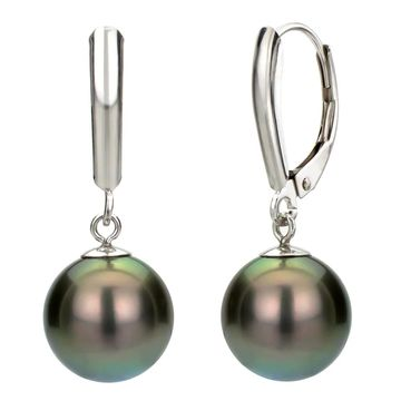 DaVonna Silver Black Tahitian Pearl Leverback Earrings (8-9 mm)