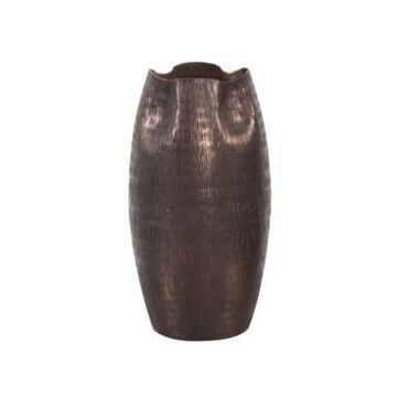 Howard Elliott Textured Deep Copper Aluminum Pinched Top Vase, Small