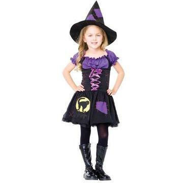 Leg Avenue Girls' 2PC. Cat witch Costume w/ peasant dress and hat, Medium, Black/Purple