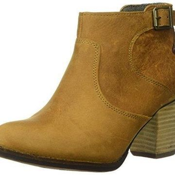 Caterpillar Women's Trestle WP Leather Ankle Bootie with Side Zip abd Stacked Heel Boot, Tan/Tater, 9.5 Medium US