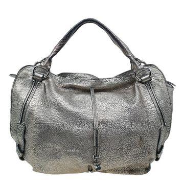 Celine Metallic Silver Leather Large Bittersweet Hobo