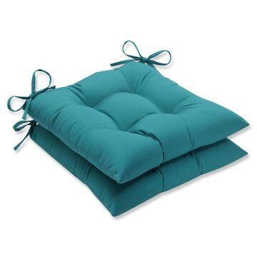 Pillow Perfect Colefax Aquamarine 2-Piece Blue Patio Chair Cushion Polyester