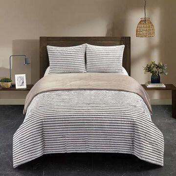 Dearfoams Drydon Waffle Plush Comforter Set with Sherpa Reverse, Grey, Queen