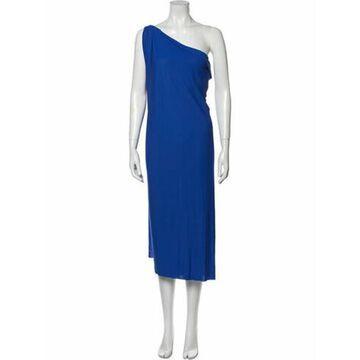 One-Shoulder Knee-Length Dress Blue