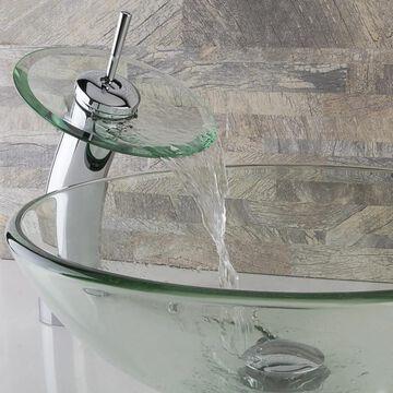 VIGO Crystalline Glass Vessel Sink and Waterfall Faucet Set in Chrome Finish (VIGO Crystalline Vessel Sink and Waterfall Faucet)