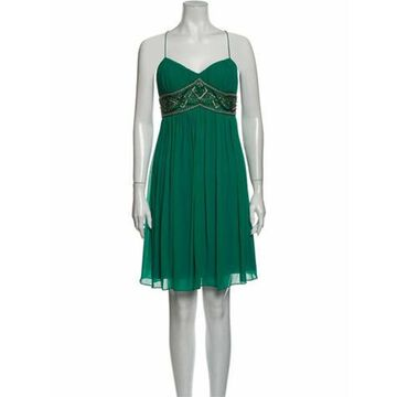 Silk Knee-Length Dress Green