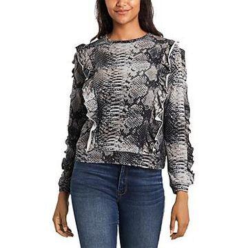 1.state Ruffled Snake Print Sweatshirt