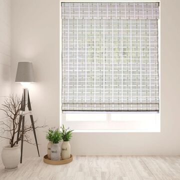 Arlo Blinds Cordless Lift Whitewash Bamboo Roman Shade with 60 Inch Height (38