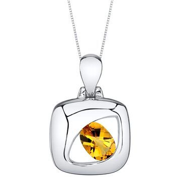 Oravo Citrine Sterling Silver Sculpted Pendant Necklace - Yellow