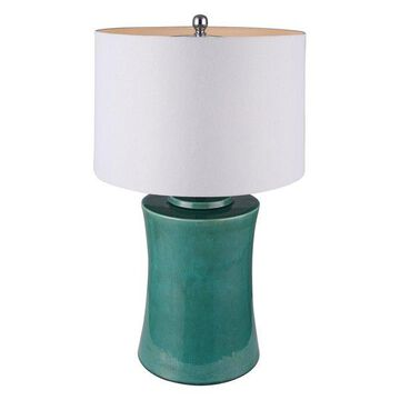 Canarm Madryn Table Lamp, Falling Green Ceramic/Brussel's White Fabric Shade