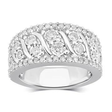 Divina Sterling Silver 1.00ct TDW Diamond Anniversary Ring