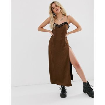 Motel midi satin cami dress with lace hem and thigh split-Brown