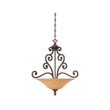 Designers Fountain Montreaux 3-Light Pendant, Burnished Walnut w/ Gold