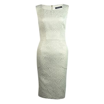 Ellen Tracy Women's Pocketed Metallic Animal Print Dress - Ivory - 4