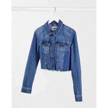 Noisy May cropped denim jacket with raw hem in dark blue