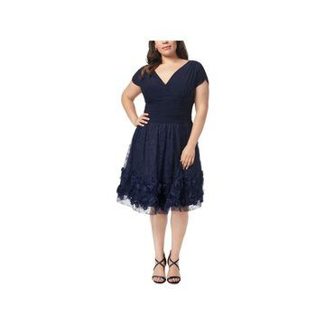 SL Fashions Womens Plus Rosette Party Dress Ruched Lace Overlay - Navy