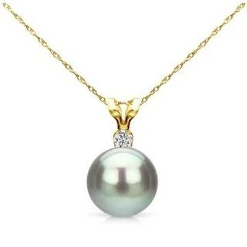 DaVonna 14k Yellow Gold Pearl Diamond Accent Pendant Necklace (6-6.5mm) (Grey)