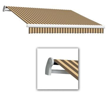 Awntech Maui 192-in Wide x 120-in Projection Brown/Tan Striped Striped Vertical Patio Left Motor Retractable Awning