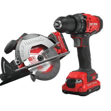 CRAFTSMAN V20 2-Tool 20-Volt Max Lithium Ion Power Tool Combo Kit with No Case (Charger and 2-Batteries Included) | CMCK202C2