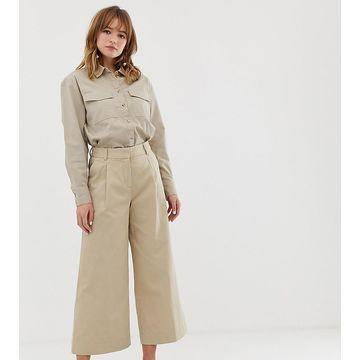 Monki wide leg cropped pants in beige