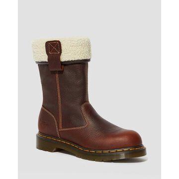 Dr. Martens, Belsay Women's Leather Steel Toe Work Boots in Teak, Size 5