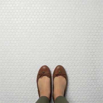 "SomerTile Hudson Penny Round Matte White 12"" x 12.63"" Porcelain Mosaic Tile"