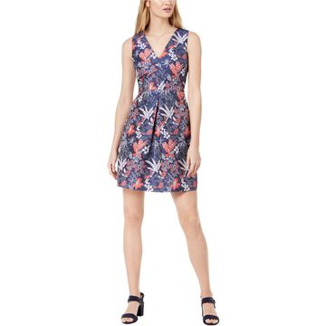 maison Jules Womens Floral Fit & Flare Dress