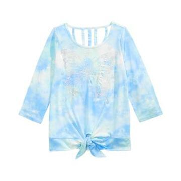 Beautees Big Girls Sparkle Butterfly Tie-Dyed Shirt