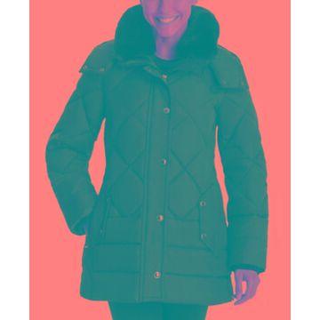 London Fog Faux-Fur-Collar Hooded Down Puffer Coat