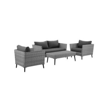 Crosley Richland 4 Piece Outdoor Wicker Conversation Set - Loveseat, 2 Arm Chairs And Coffee Table